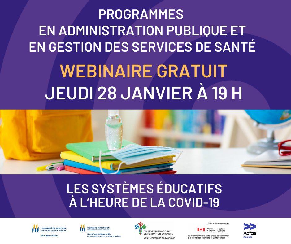 Webinaire gratuit :  Les systèmes éducatifs à l'heure de la COVID-19.