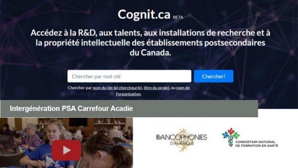 Cognit.ca, projet d'échange intergénérationnel et des capsules sur l'offre active